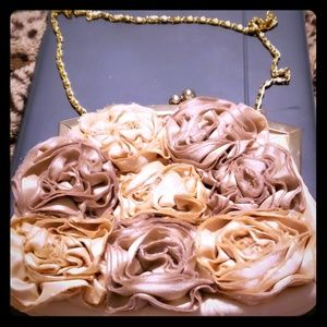 Lulu Townsend Satin Rouched Floral Clutch-beige